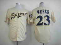 Milwaukee Brewers -23 Rickie Weeks Cream YOUniform Cool Base Stitched MLB Jersey