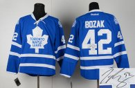 Autographed Toronto Maple Leafs -42 Tyler Bozak Blue Home Stitched NHL Jersey
