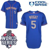 New York Mets -5 David Wright Blue Grey NO Alternate Road Cool Base W 2015 World Series Patch Stitch