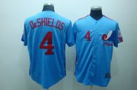 Mitchell and Ness Expos -4 Delino Deshields Blue Stitched Throwback MLB Jersey