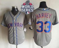New York Mets -33 Matt Harvey New Grey Cool Base W 2015 World Series Patch Stitched MLB Jersey