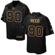 Nike Seahawks -90 Jarran Reed Black Stitched NFL Elite Pro Line Gold Collection Jersey
