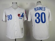Mitchell And Ness Expos -30 Tim Raines White Throwback Stitched MLB Jersey