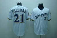 Milwaukee Brewers -21 Alcides Escobar Stitched White Cool Base MLB Jersey