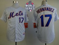 New York Mets -17 Keith Hernandez White Blue Strip Home Cool Base W 2015 World Series Patch Stitched