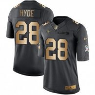 Nike 49ers -28 Carlos Hyde Black Stitched NFL Limited Gold Salute To Service Jersey