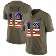 Nike Bills -12 Jim Kelly Olive USA Flag Stitched NFL Limited 2017 Salute To Service Jersey