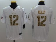 Nike Bills -12 Jim Kelly White Stitched NFL Limited Salute To Service Jersey
