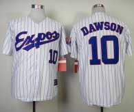 Mitchell and Ness 1982 Expos -10 Andre Dawson White Blue Strip Throwback Stitched MLB Jersey