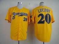 Milwaukee Brewers -20 Jonathan Lucroy Yellow Cerveceros Cool Base Stitched MLB Jersey