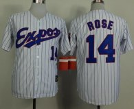Mitchell And Ness 1982 Expos -14 Pete Rose White Black Strip  Throwback Stitched MLB Jersey