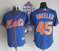 New York Mets -45 Zack Wheeler Blue Alternate Home New Cool Base W 2015 World Series Patch Stitched