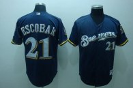 Milwaukee Brewers -21 Alcides Escobar Stitched Blue Cool Base MLB Jersey