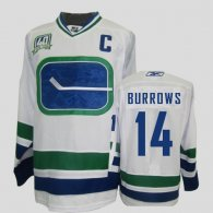 Vancouver Canucks -14 Alexandre Burrows Stitched White Third 40TH Patch NHL Jerse