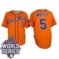 New York Mets -5 David Wright Orange Los New York Mets Cool Base W 2015 World Series Patch Stitched