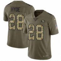 Nike 49ers -28 Carlos Hyde Olive Camo Stitched NFL Limited 2017 Salute To Service Jersey