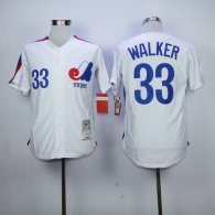 Expos -33 Larry Walker White Stitched MLB Jersey