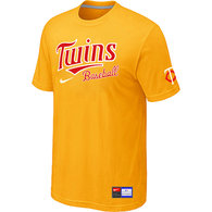 Minnesota Twins Yellow Nike Short Sleeve Practice T-Shirt
