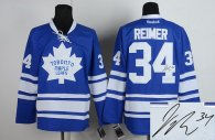 Autographed Toronto Maple Leafs -34 James Reimer Blue Stitched NHL Jersey