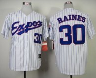 Mitchell and Ness 1982 Expos -30 Tim Raines White Blue Strip Stitched Throwback MLB Jersey