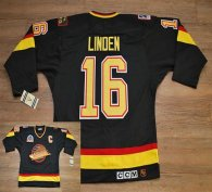 Vancouver Canucks -16 Trevor Linden Stitched Black CCM Throwback Vintage NHL Jersey
