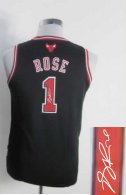 Autographed Chicago Bulls #1 Derrick Rose Black & Red No Stitched Youth NBA Jersey