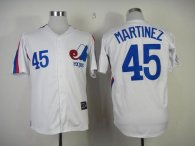 Mitchell And Ness Expos -45 Pedro Martinez White Throwback Stitched MLB Jersey