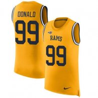 Nike Rams -99 Aaron Donald Gold Stitched NFL Limited Rush Tank Top Jersey