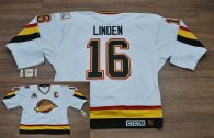 Vancouver Canucks -16 Trevor Linden Stitched White CCM Throwback Vintage NHL Jersey