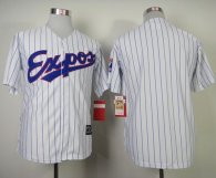 Mitchell And Ness Expos Blank White Blue Strip  Throwback Stitched MLB Jersey