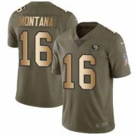 Nike 49ers -16 Joe Montana Olive Gold Stitched NFL Limited 2017 Salute To Service Jersey