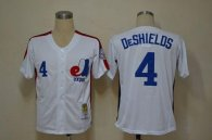 Mitchell And Ness Expos -4 Delino Deshields White Throwback Stitched MLB Jersey