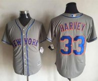 New York Mets -33 Matt Harvey New Grey Cool Base Stitched MLB Jersey