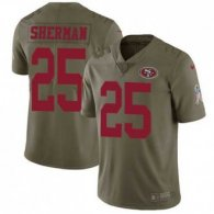 Nike 49ers -25 Richard Sherman Olive Stitched NFL Limited 2017 Salute To Service Jersey