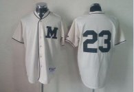 Milwaukee Brewers -23 Rickie Weeks Cream 1913 Turn Back The Clock Stitched MLB Jersey