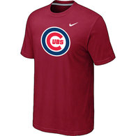 Chicago Cubs Nike Heathered Red Club Logo  T-Shirt