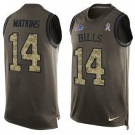 Nike Bills -14 Sammy Watkins Green Stitched NFL Limited Salute To Service Tank Top Jersey