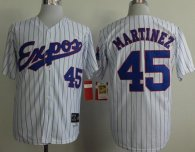 Mitchell And Ness 1982 Expos -45 Pedro Martinez White Black Strip Throwback Stitched MLB Jersey