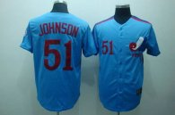 Mitchell and Ness Expos -51 Randy Johnson Blue Stitched Throwback MLB Jersey