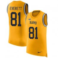 Nike Rams -81 Gerald Everett Gold Stitched NFL Limited Rush Tank Top Jersey