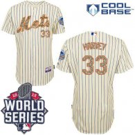 New York Mets -33 Matt Harvey Cream Blue Strip  USMC Cool Base W 2015 World Series Patch Stitched ML
