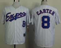 Mitchell And Ness 1982 Expos -8 Gary Carter White Black Strip Throwback Stitched MLB Jersey