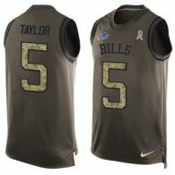 Nike Bills -5 Tyrod Taylor Green Stitched NFL Limited Salute To Service Tank Top Jersey