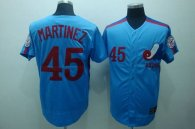 Mitchell and Ness Expos -45 Pedro Martinez Blue Stitched Throwback MLB Jersey