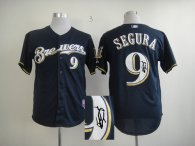 Autographed MLB Milwaukee Brewers -9 Jean Segura Blue Cool Base Stitched Jersey