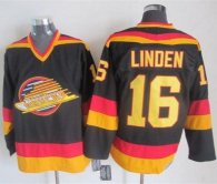 Vancouver Canucks -16 Trevor Linden Black Gold CCM Throwback Stitched NHL Jersey