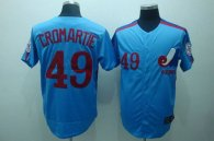 Mitchell and Ness Expos -49 Warren Cromartie Blue Stitched Throwback MLB Jersey