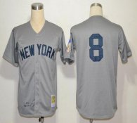 Mitchell And Ness 1951 New York Yankees -8 Yogi Berra Grey Throwback Stitched MLB Jersey
