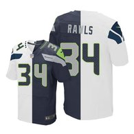 Nike Seahawks -34 Thomas Rawls White Steel Blue Stitched NFL Elite Split Jersey