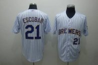 Milwaukee Brewers -21 Alcides Escobar Stitched White Blue Strip MLB Jersey